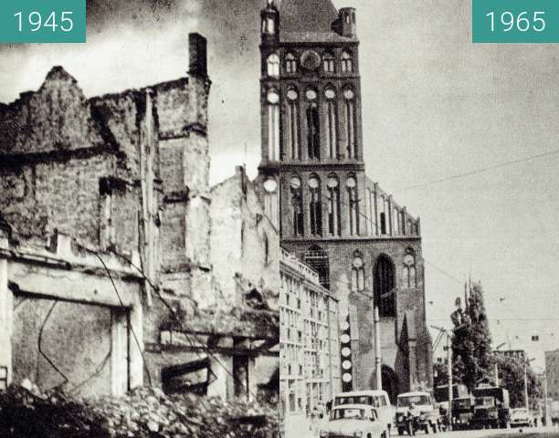 Before-and-after picture of St.-Peter-und-Paul-Kirche between 1945 and 1965