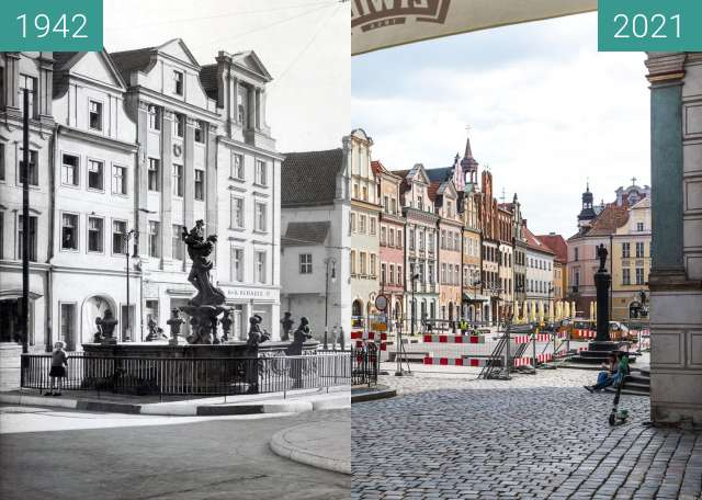 Before-and-after picture of Stary Rynek between 1942 and 2021