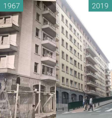 Before-and-after picture of Tiboli Kalea/Calle Tiboli between 1967 and 2019-May-05