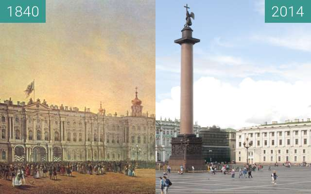 Before-and-after picture of St. Petersburg, Palace Square between 1840 and 2014-Aug-17