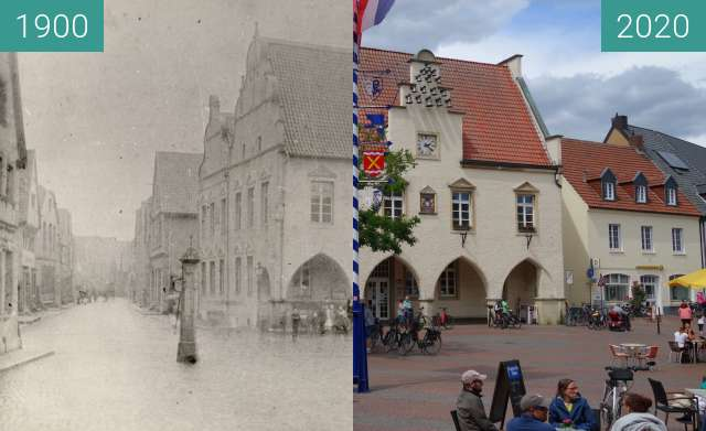 Before-and-after picture of Haltern market square (around 1900) between 1900 and 2020-May-31