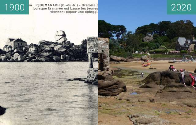 Before-and-after picture of Saint-Guirec between 1900 and 07/2020