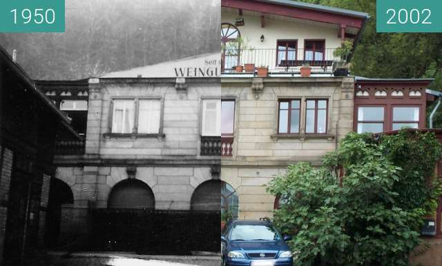 Before-and-after picture of Haus bei Neustadt between 1950 and 2002
