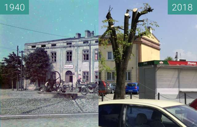 Before-and-after picture of Tuszyn (Tuschin) Post Office between 1940 and 2018