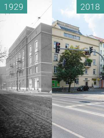 Before-and-after picture of Ulica Garbary between 1929 and 2018