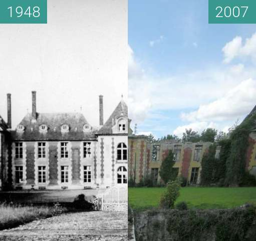 Before-and-after picture of Chateau de Coupvray between 1948 and 2007-Jul-21