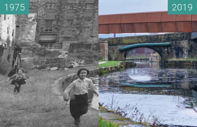 Before-and-after picture of Sandygate bridge in Burnley, Lancashire between 1975 and 2019-Dec-02