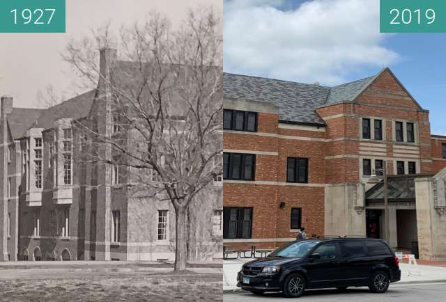 Before-and-after picture of KU Student Union 1927-2019 between 1927-Aug-30 and 2019-May-02