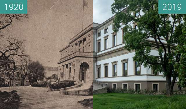Before-and-after picture of Stuttgart - Wilhelmspalais between 1920 and 2019-May-12