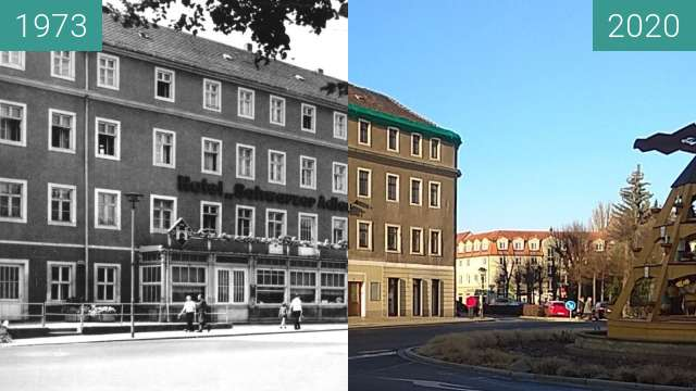 Before-and-after picture of Pirna | Hotel Schwarzer Adler between 1973 and 2020-Jan-23
