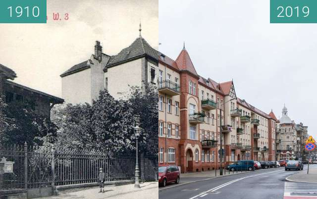 Before-and-after picture of Ulica Matejki between 1910 and 2019-Jan-12