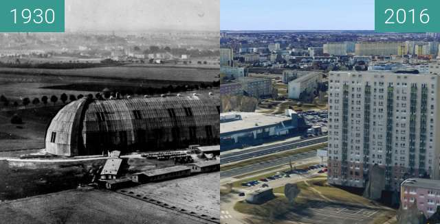 Before-and-after picture of Hala Zepellinów between 1930 and 2016