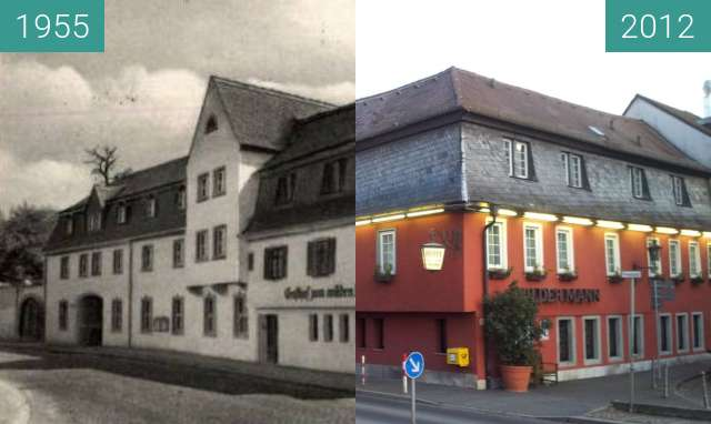 Before-and-after picture of Aschaffenburg - Hotel Wilder Mann between 1955 and 2012