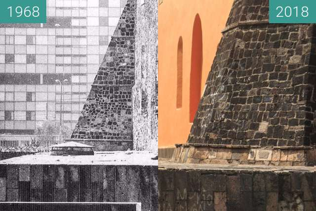 Before-and-after picture of The calm after the Tlatelolco Massacre between 1968-Oct-03 and 2018-Oct-28