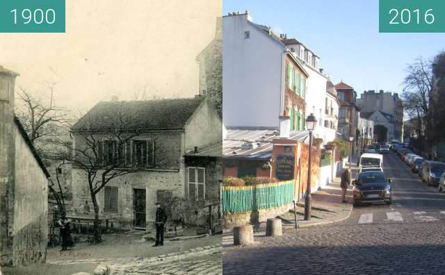 Before-and-after picture of Le Lapin Agile between 1900 and 2016-Jan-21