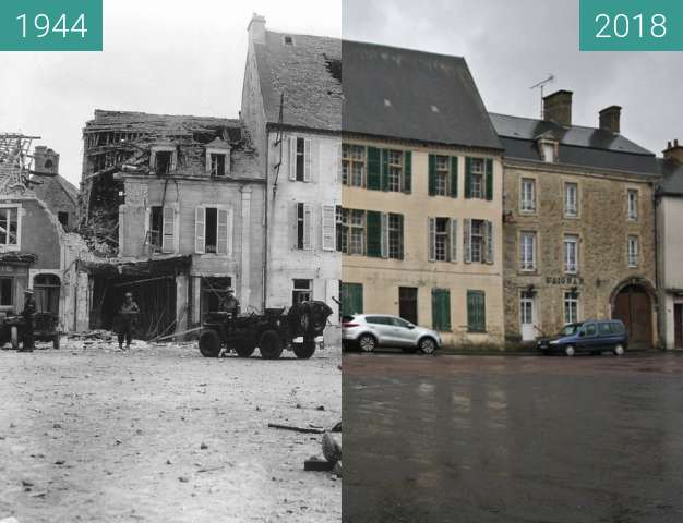 Before-and-after picture of Trévières - Normandy between 06/1944 and 2018-May-01
