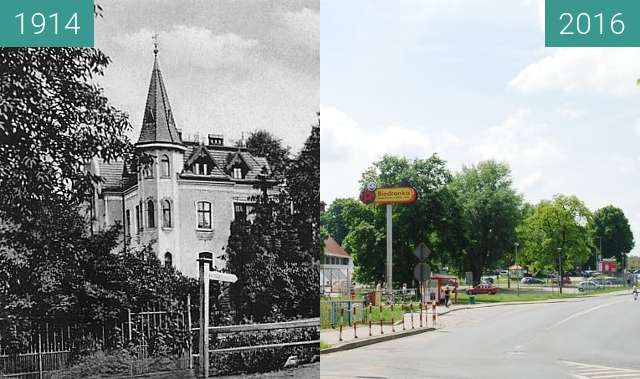 Before-and-after picture of Ecke Gurkauer Chaussee und Mozartstrasse between 1914 and 2016