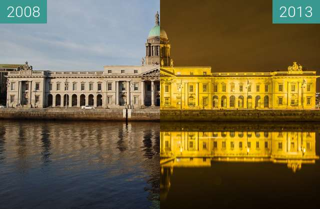 Before-and-after picture of Customs House Dublin between 2008-Nov-02 and 2013-Nov-27