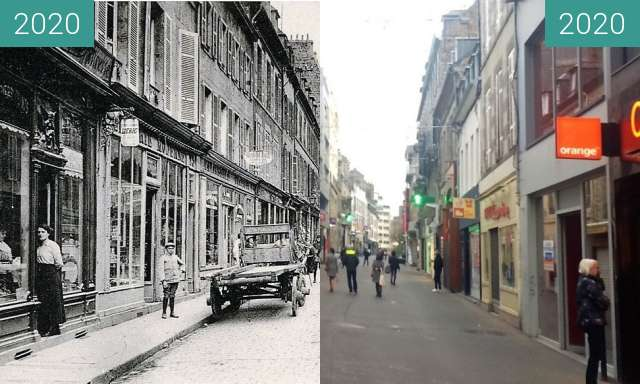 Before-and-after picture of Saint-Brieuc - Rue Saint-Guillaume between 1910 and 2020-Nov-21