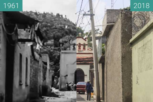 "Before-and-after picture of A scene from the mexican movie ""Yanco"" between 1961 and 2018-Oct-12"