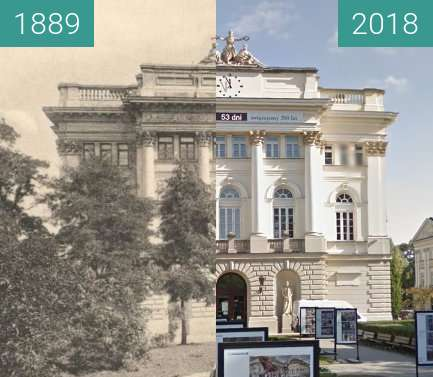 Before-and-after picture of Biblioteka na terenie Uniwersytetu Warszawskiego between 1889 and 2018