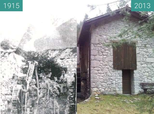 Before-and-after picture of Patrinova žaga nekoč in danes between 1915 and 2013