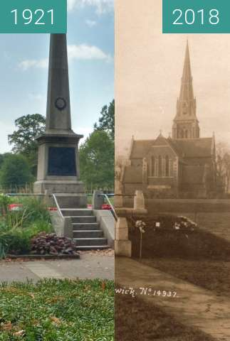 Before-and-after picture of Christ Church on Turnham Green between 1921 and 2018