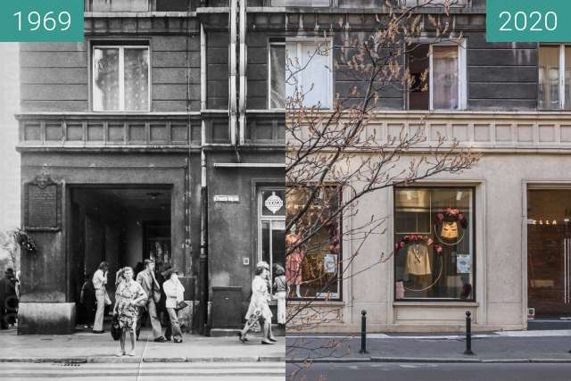 Before-and-after picture of Ulica Ratajczaka between 1969 and 2020