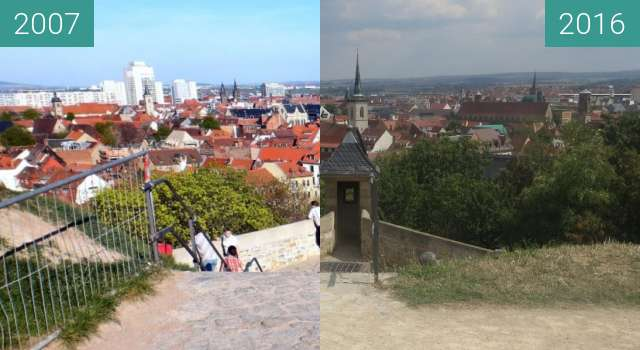 Before-and-after picture of Auf der Zitadelle Petersberg between 2007-Apr-15 and 2016-Aug-19