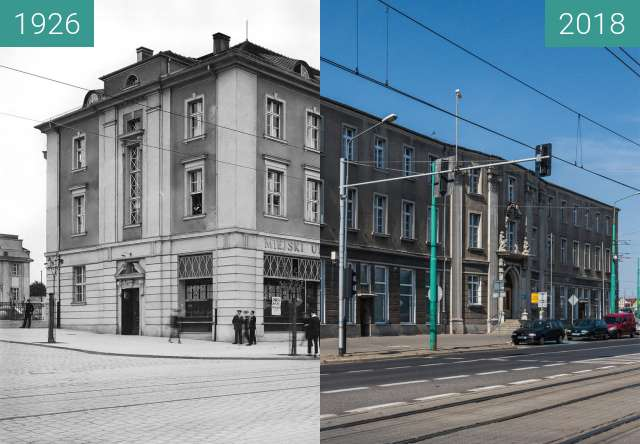 Before-and-after picture of Ulica Głogowska between 1926 and 2018