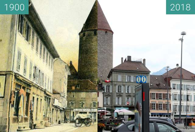 Before-and-after picture of Bulle - Place des Alpes - 1900 - 2018 between 1900 and 2018-Aug-04