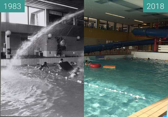 Before-and-after picture of Pool Hoornse Vaart in Alkmaar between 1983 and 2018-Mar-29