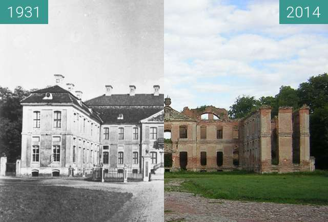 Before-and-after picture of Pałac w Kamieńcu between 1931 and 2014