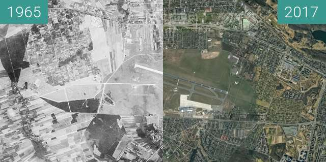 Before-and-after picture of Zachodni Poznań between 1965-Aug-23 and 2017