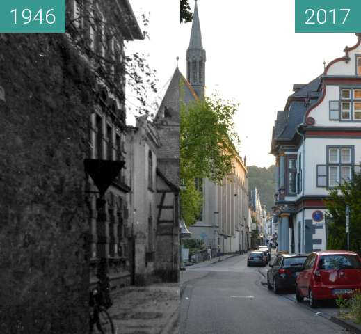 Before-and-after picture of Christuskirche  between 1946 and 2017-Jun-13