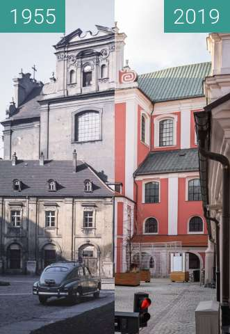 Before-and-after picture of Dziedziniec Urzędu Miasta Poznania between 1955 and 2019-Dec-10