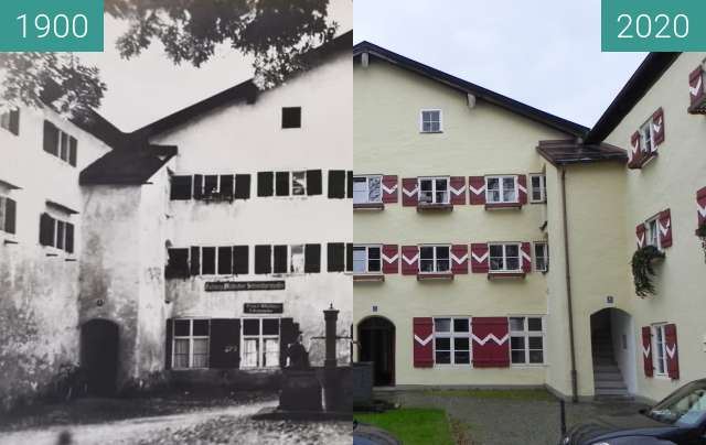 Before-and-after picture of Saline Traunstein Wohnungen between 1900 and 11/2020