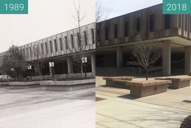Before-and-after picture of Wescoe Hall - 1989 to 2018 between 1989 and 2018-Apr-17