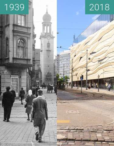 Before-and-after picture of Aleje Marcinkowskiego between 1939 and 2018