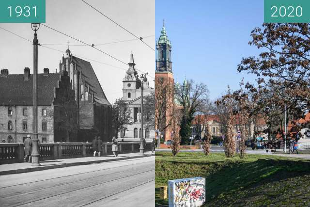 Before-and-after picture of Most Chrobrego between 1931 and 2020