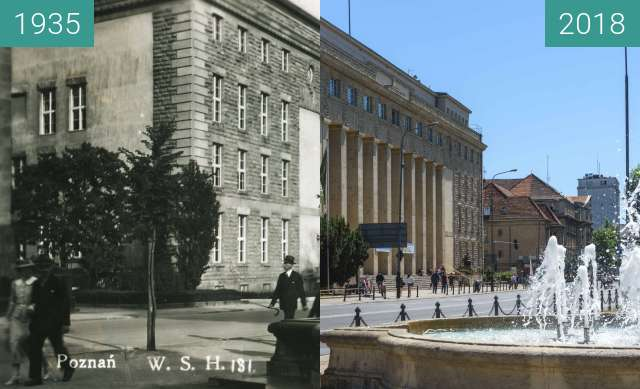 Before-and-after picture of Aleja Niepodległości between 1935 and 2018