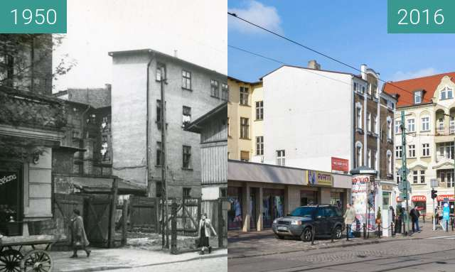 Before-and-after picture of Ulica Kraszewskiego between 1950 and 2016