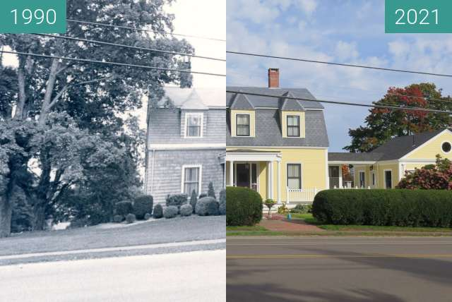Before-and-after picture of 2 Northport Avenue, Belfast Maine between 1990 and 2021