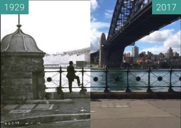 Before-and-after picture of Dawes Point between 1929 and 2017