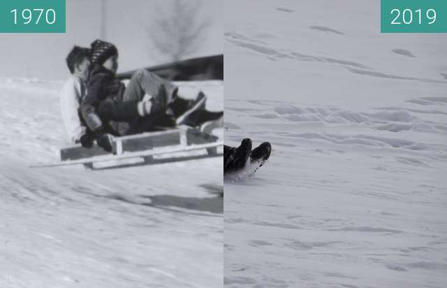 Before-and-after picture of Sledding at YBGR between 1970 and 2019