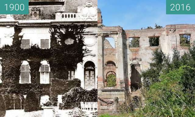 Before-and-after picture of Széchenyi-Wenckheim Palace between 1900 and 2016