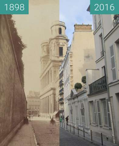 Before-and-after picture of Rue Férou between 1898 and 2016-Jan-12