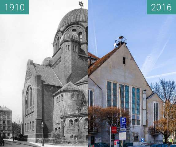 Before-and-after picture of Ulica Stawna, synagoga between 1910 and 2016-Nov-20