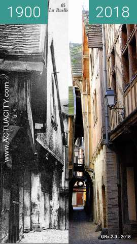 Before-and-after picture of TROYES - La ruelle des chats between 1900 and 2018-Feb-25