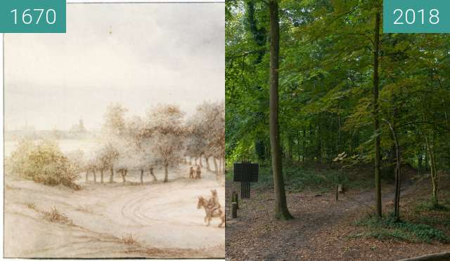 Before-and-after picture of View on the outskirts of Bergen between 1670 and 2018-Aug-15